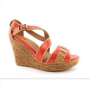 MIZ MOOZ Orange Leather Cork Wedge Sandals 8.5